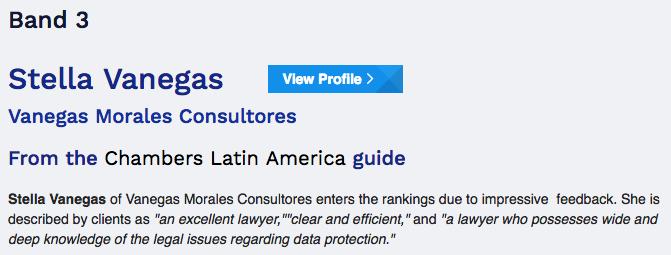 Vanegas Morales es reconocida en el Ranking de Chambers and Partners